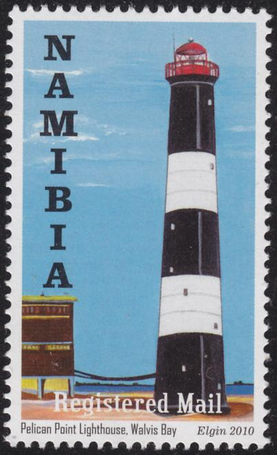 Lighthouse Walvis Bay, Namibia on stamp